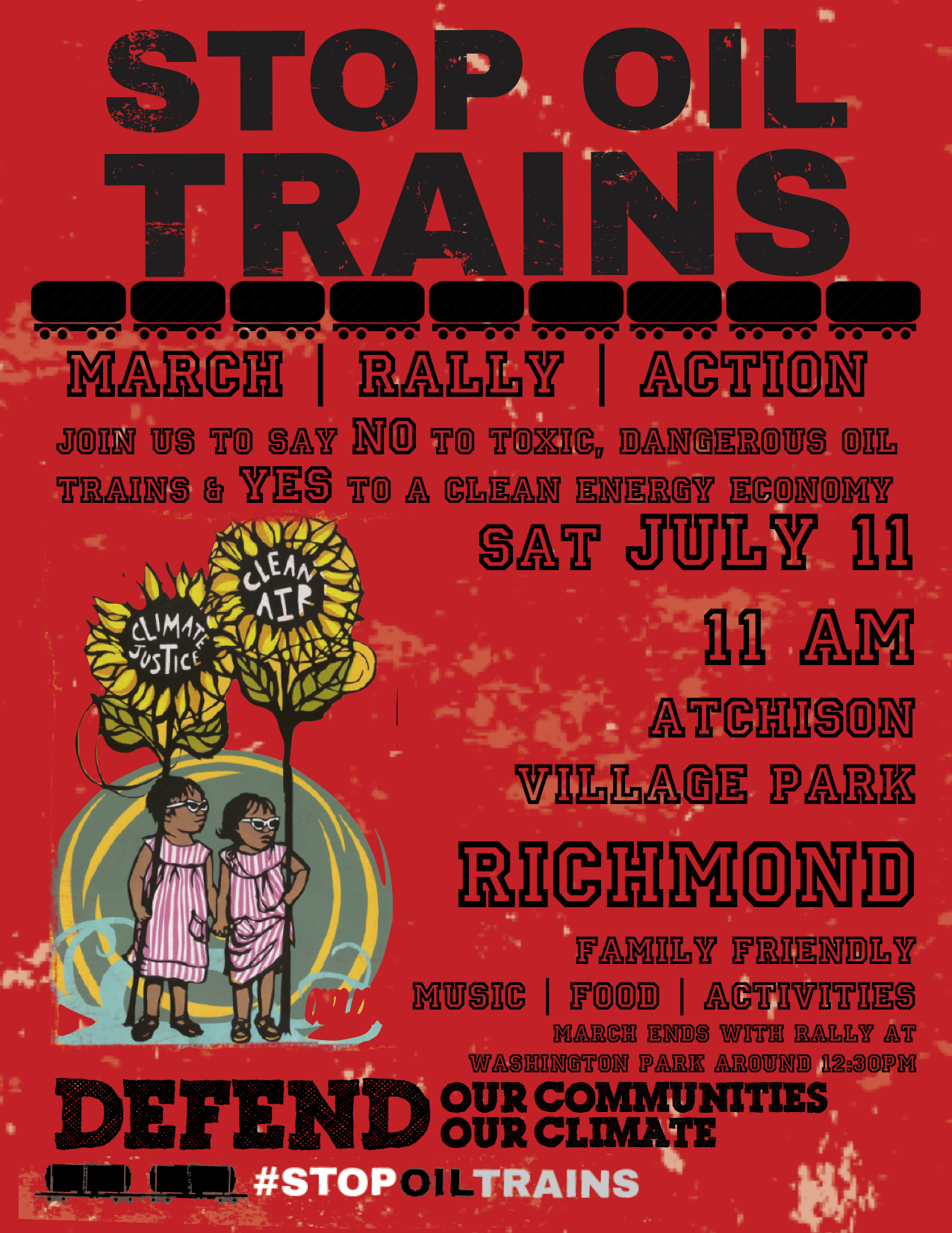 March, Rally, Action: Stop the Oil Trains. Richmond. @ Atchison Village Park | Richmond | California | United States