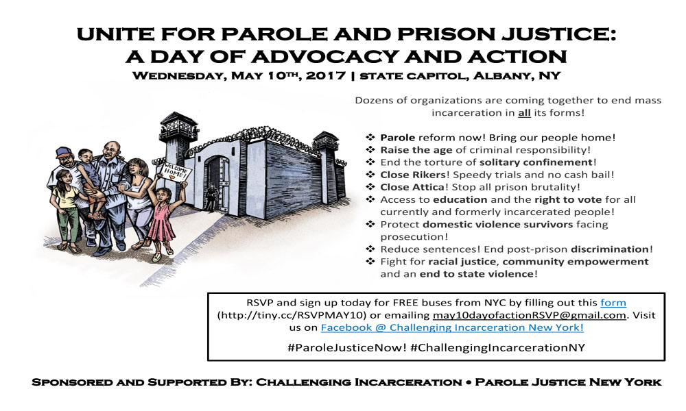 May 10th lobby day in Albany, Unite for Parole and Prison Justice: A Day of Advocacy and Action