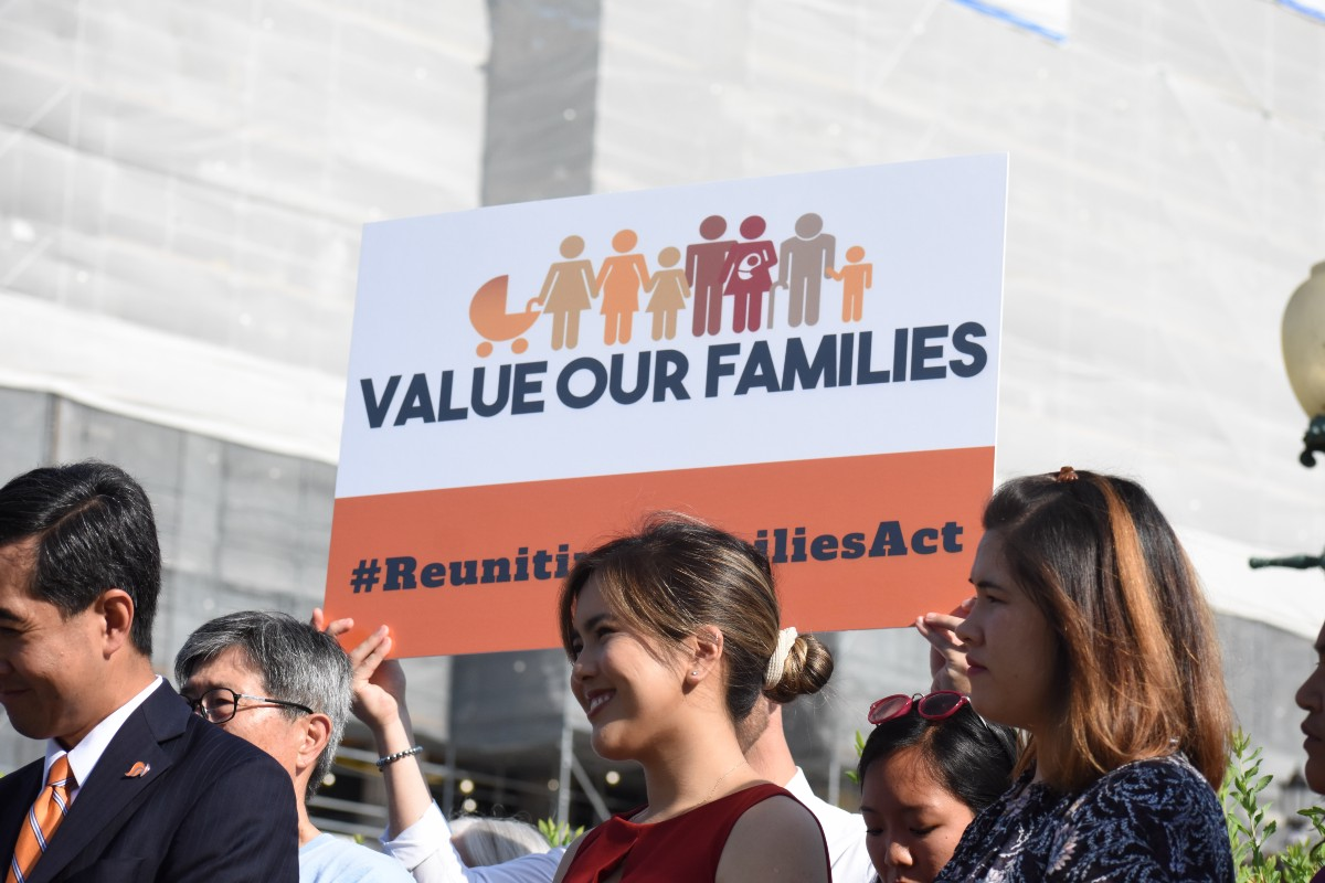 Value Our Families banner at a rally on Capitol Hill