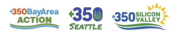 logos for 350 Seattle, 350 Bay Area Action, and 350 Silicon Valley