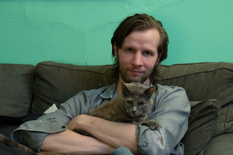Daniel Hale with cat