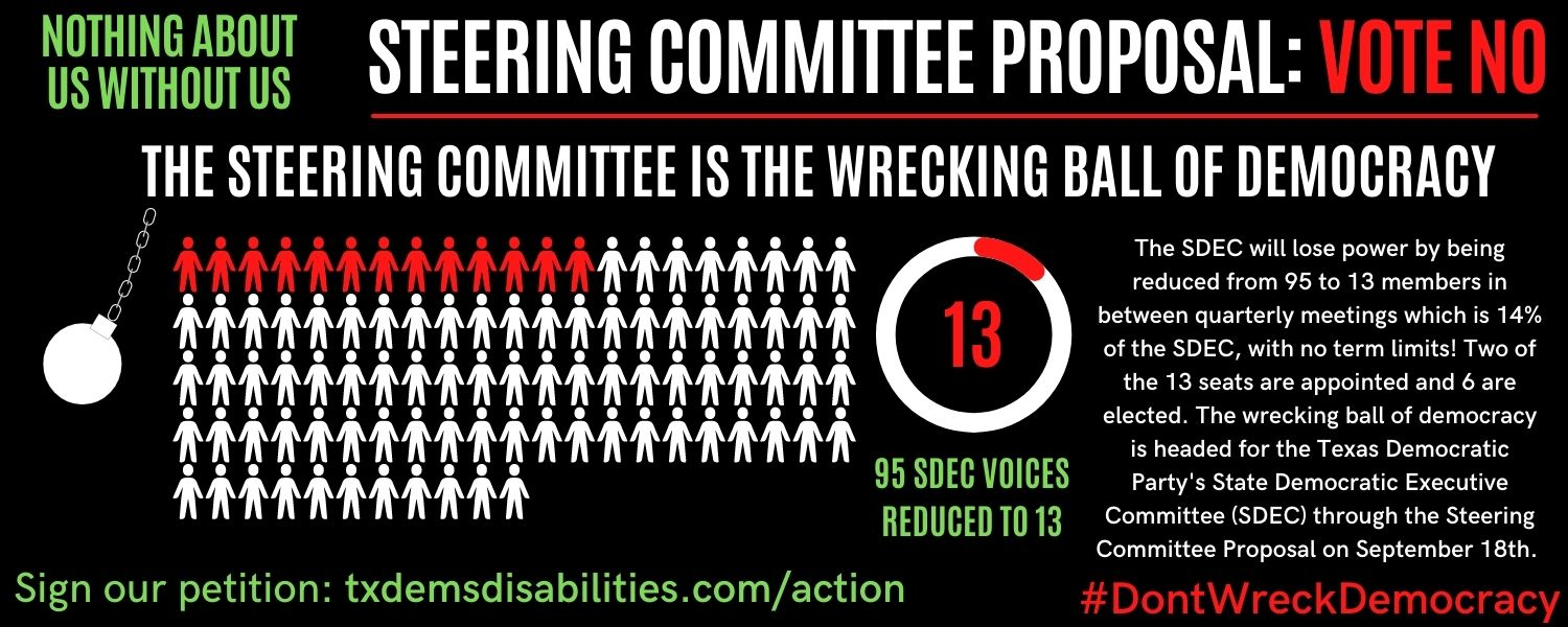 """Image Description:Embedded in a black background are large bold words in all caps reading in green """"NOTHING ABOUT US WITHOUT US"""" in red """"STEERING COMMITTEE PROPOSAL:"""" in red """"VOTE NO"""".  A white wrecking ball is headed towards a group of 95 people in white"""