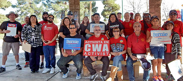 CWA District 9 Vice President Tom Runnion and CWA activists canvassed for Bernie Sanders in Nevada last weekend.