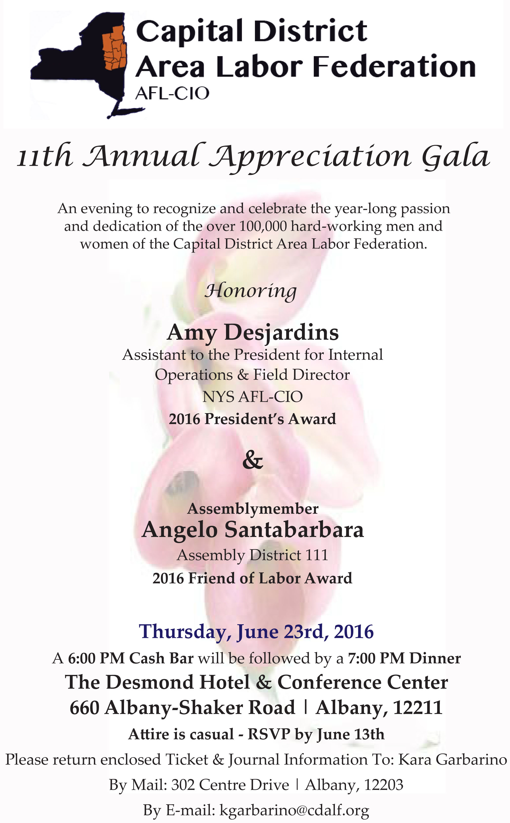 th annual appreciation gala cdalf payments and journal advertisements should be submitted to kara no later than 13th at kgarbarino org 302 centre drive albany ny 12203