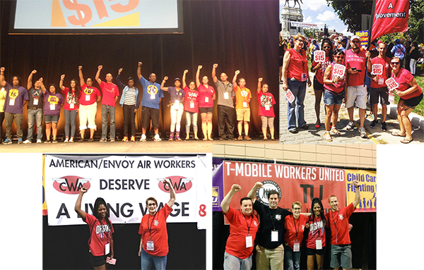 clockwise from top left tu chief steward rebecca disbrow a t mobile customer service representative from idaho stands on stage with workers from
