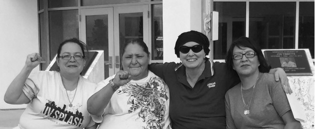 (L to R) Anita Apodaca, Dora Castillo, Connie Derr (AFSCME Council 18 Executive Director), and Olga Esquibel