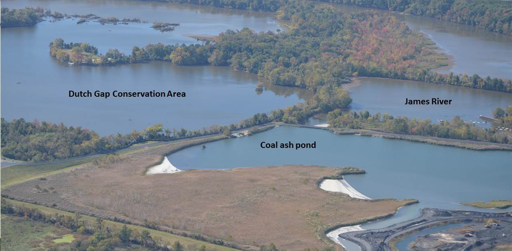 Coal ash ponds at Chesterfield Power Station.