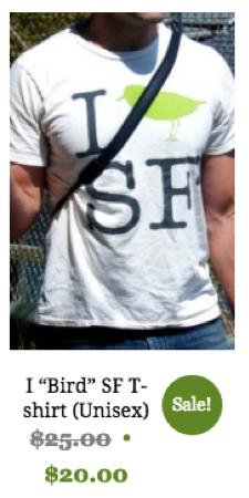 I 'Bird' SF T-shirt, unisex, natural cotton color