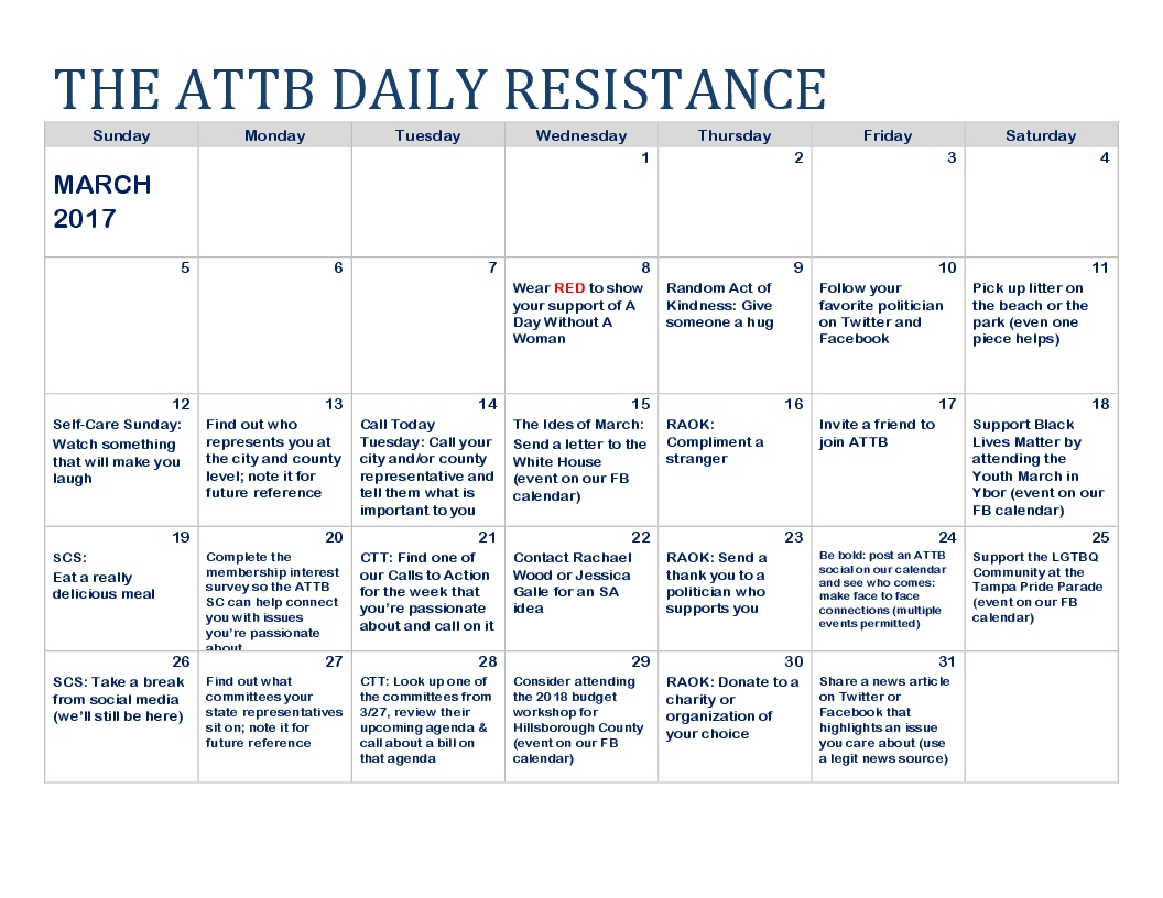 ATTB Daily Resistance Calendar March '17