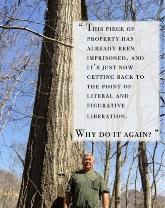 Quote from Letcher landowner and wildlife rehabilitator, Mitch Whitaker, who lives on the neighboring property in Roxana and is taking a stand against the proposed prison.