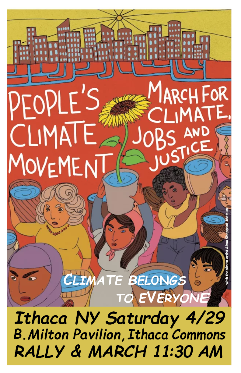 Join Us for the March for Climate, Jobs and Justice on April 29 in Ithaca