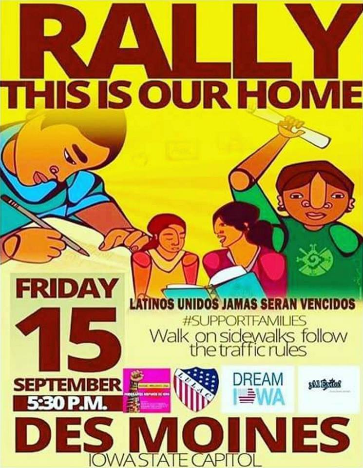 """'This is Our Home"""" Rally at Iowa State capital Friday 15th @ 5:30pm"""