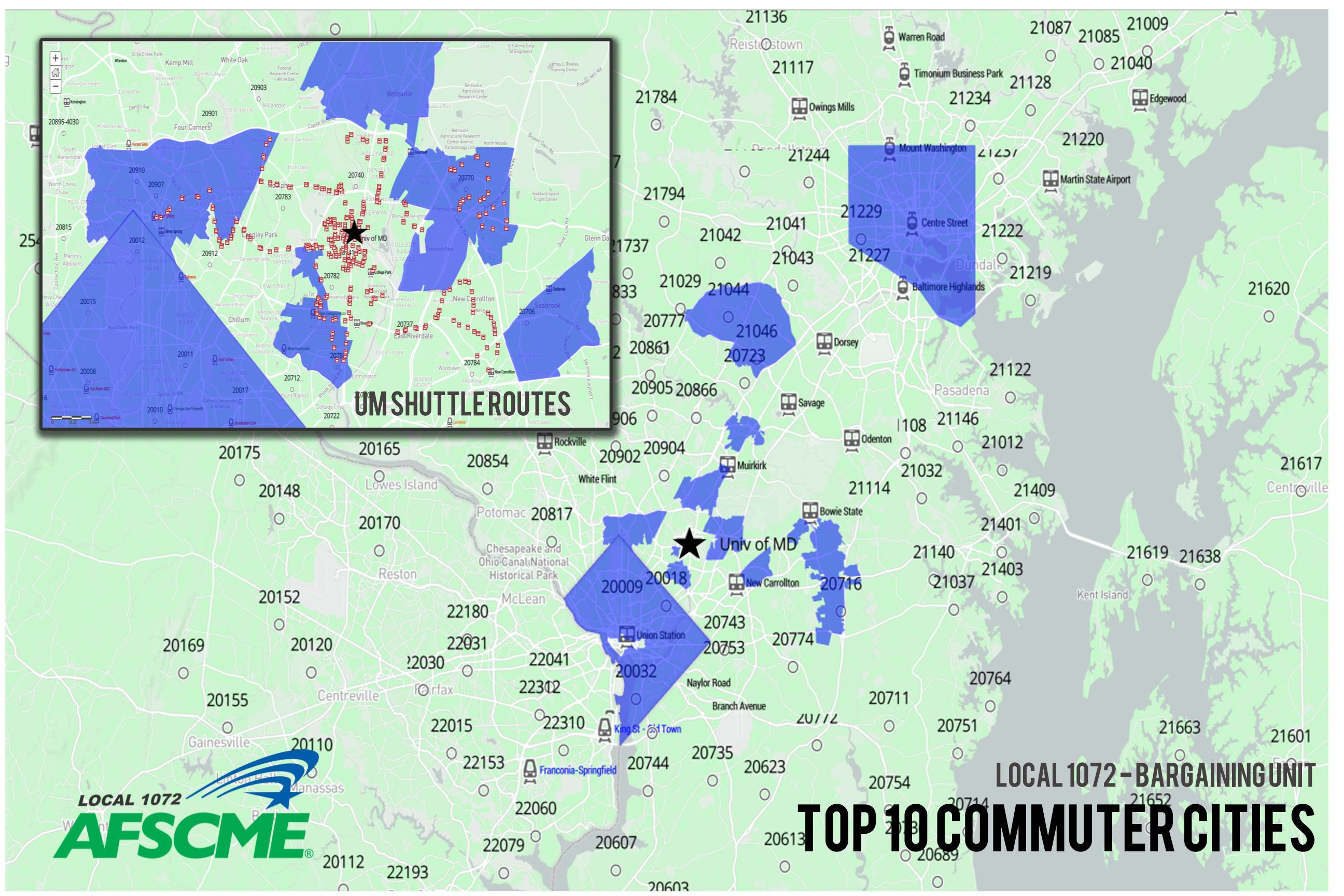 Top 10 Commuter Cities - AFSCME 1072 Bargaining Unit