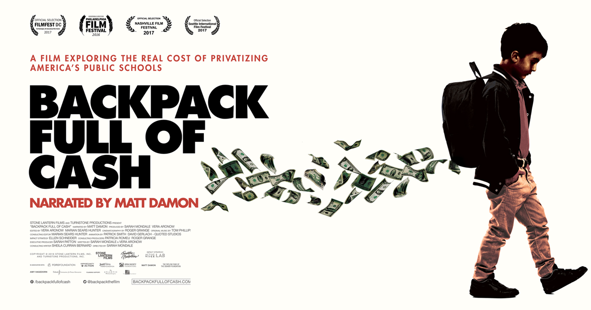 """Join Us for PFT-GPS Event and Movie Night on January 31st at 5:00 pm! Pizza, Speakers, and watch """"Backpack Full of Money"""" Narrated by Matt Damon"""