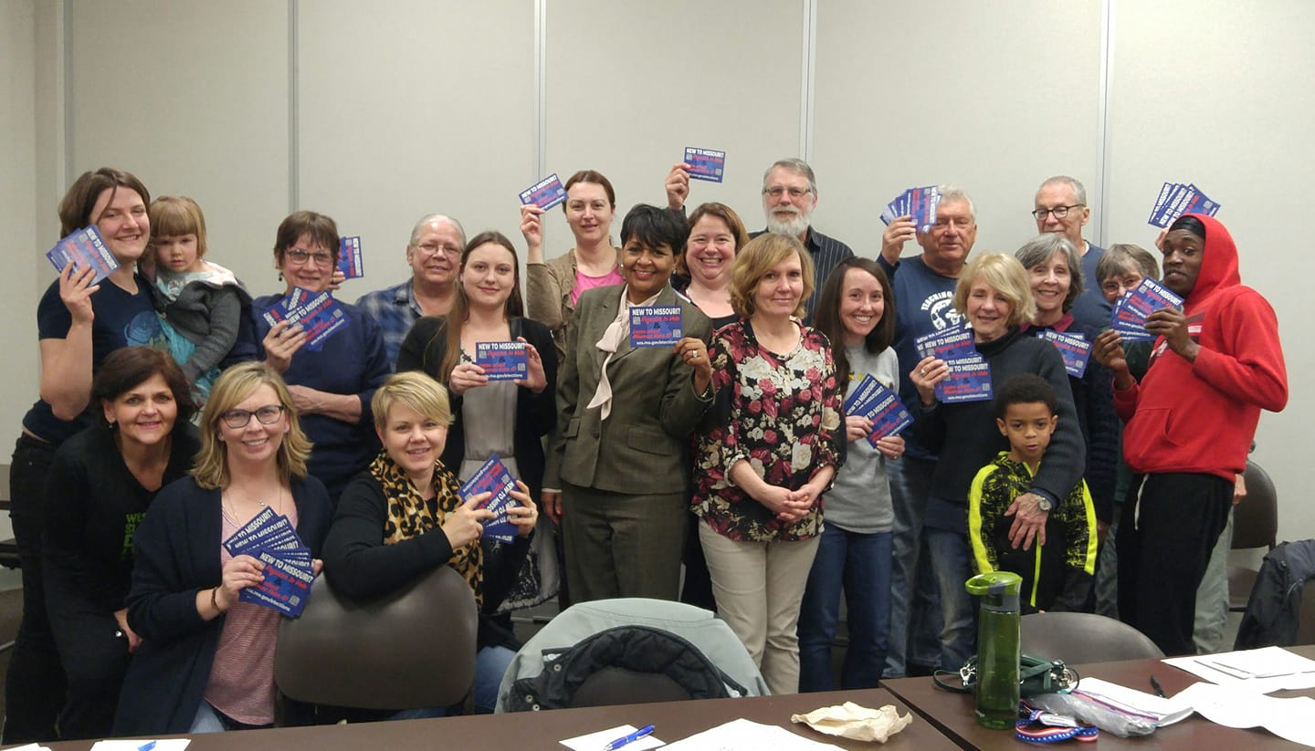 At our First Action Night we wrote postcards to new Missouri voters!