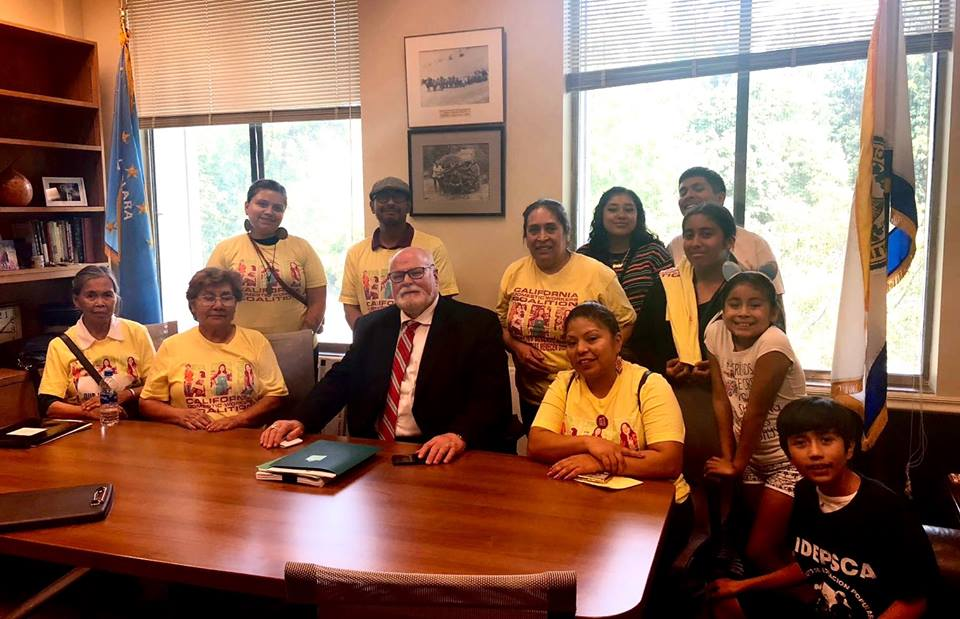 Sharing our stories with Senator Jim Bealle in support of AB2314 at the August 8 Our Work, Our Dignity Lobby Day!