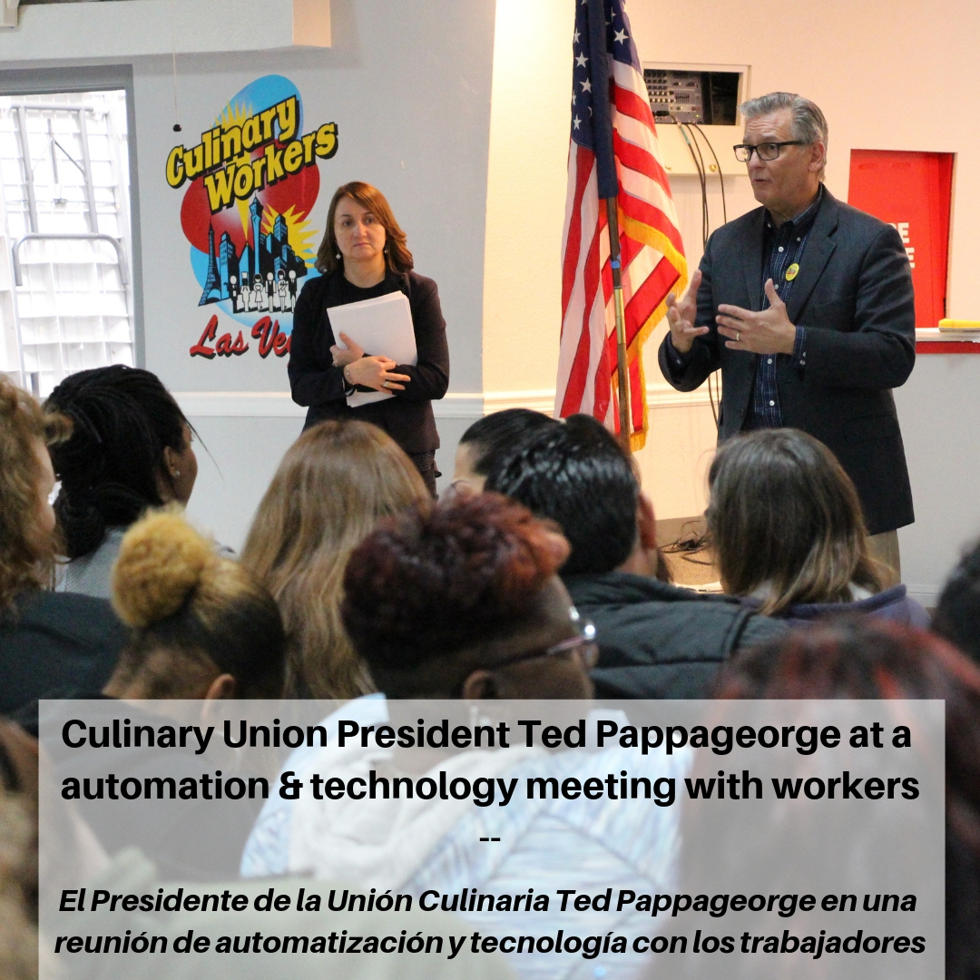 Culinary Union President Ted Pappageorge at a automation & technology meeting with Culinary Union members