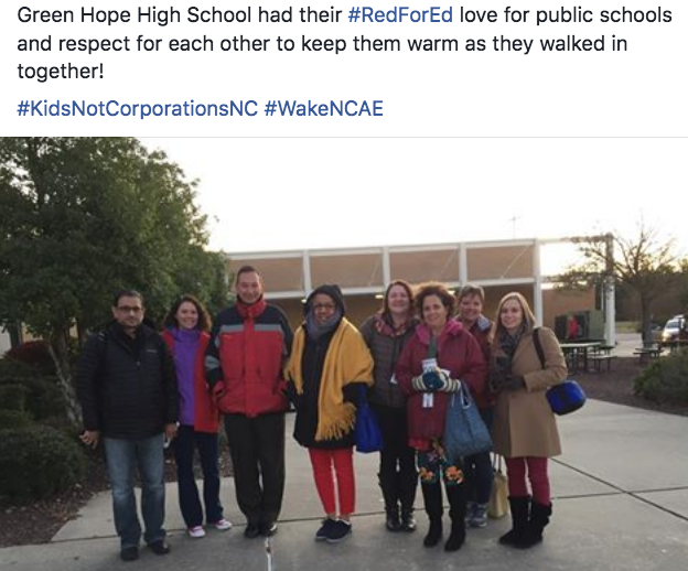 Green Hope High School is here for #KidsNotCorporationsNC