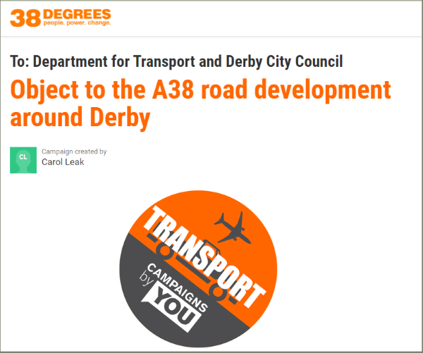 Sceenshot of Petition against A38 Road Development around Derby
