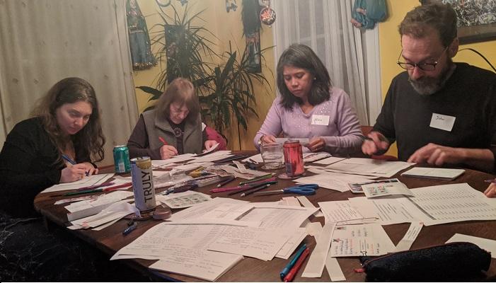 Dumplings & Reclaim Our Vote postcarding party