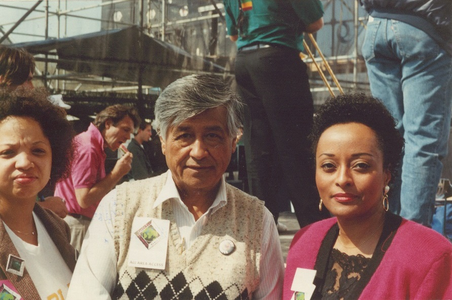 Vernice Miller-Travis, Cesar Chavez, and Peggy Shepard. Speakers at Earth Day 1990. Photo: Vernice Miller-Travis