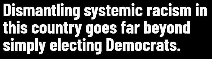 Dismantling systemic racism goes far beyond simply electing Democrats.