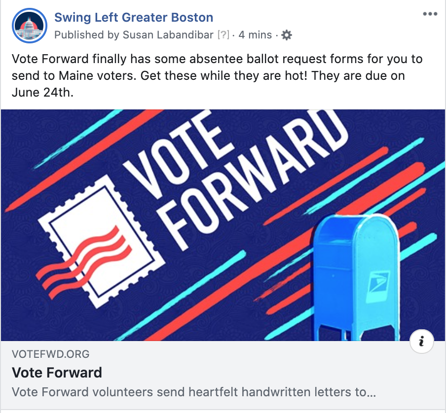 Vote Forward letters to Maine Voters