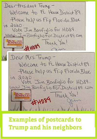 Sample postcards to Trump and his neighbors