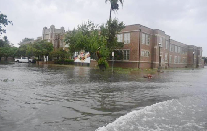 Flooded street and school