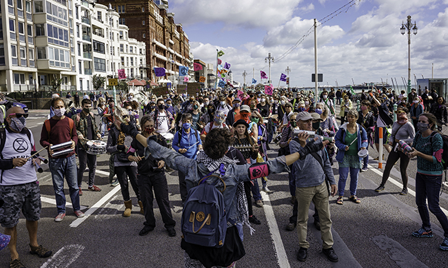 Marching on Brighton seafront