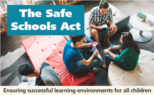 Safe School Brochure Cover: Students sitting in a circle