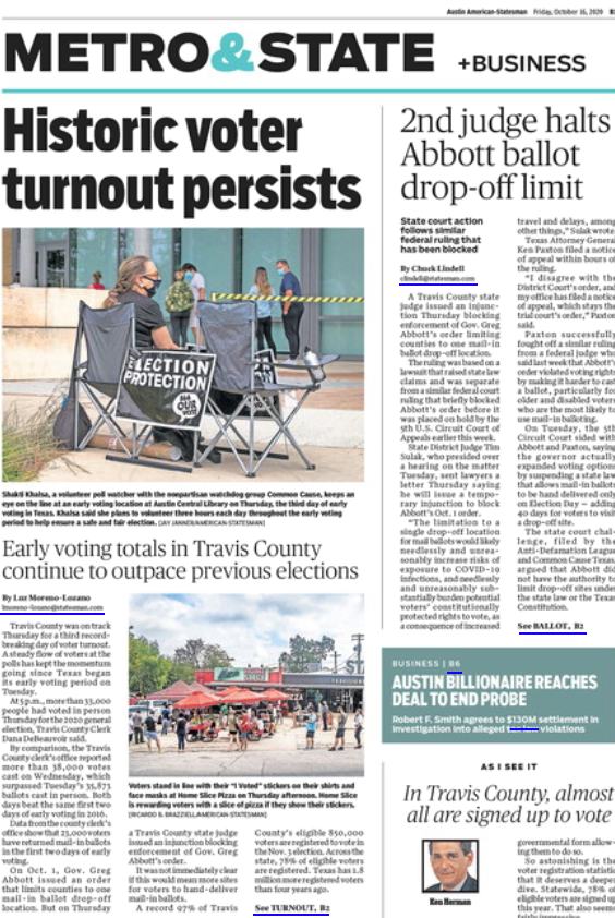 Front page of Statesman newspaper nothing historic voting levels