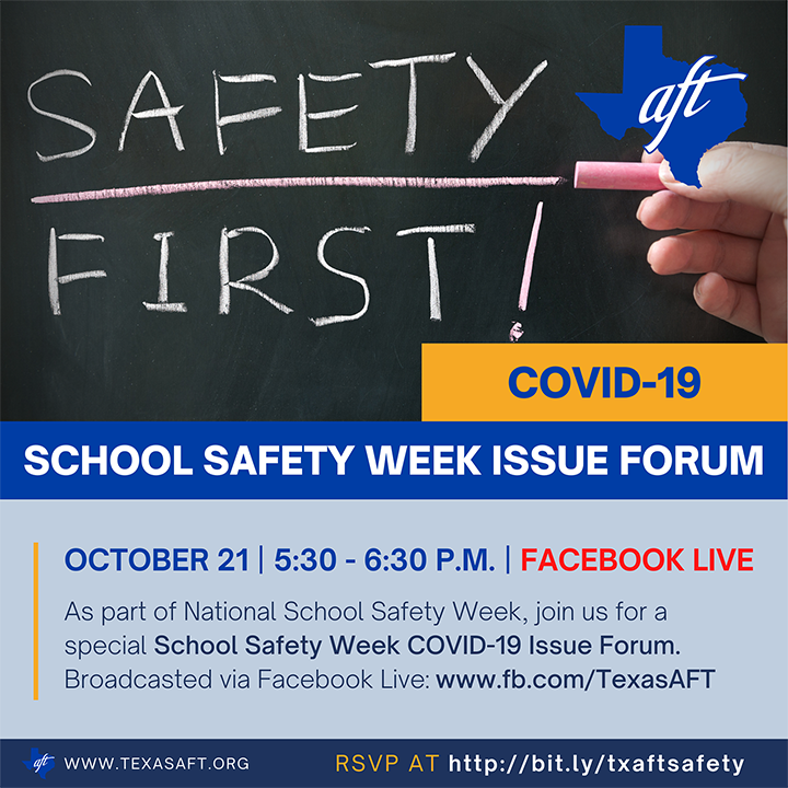 School safety Week Forum poster with Safety First written on chalkboard
