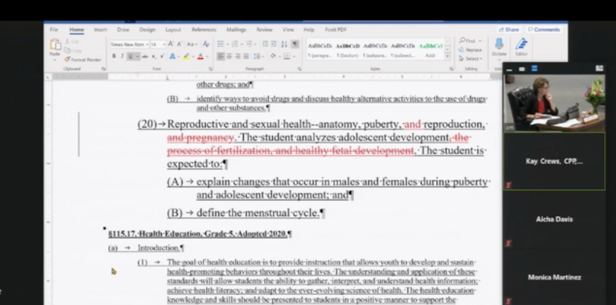 Screen with edited sex ed education writing.