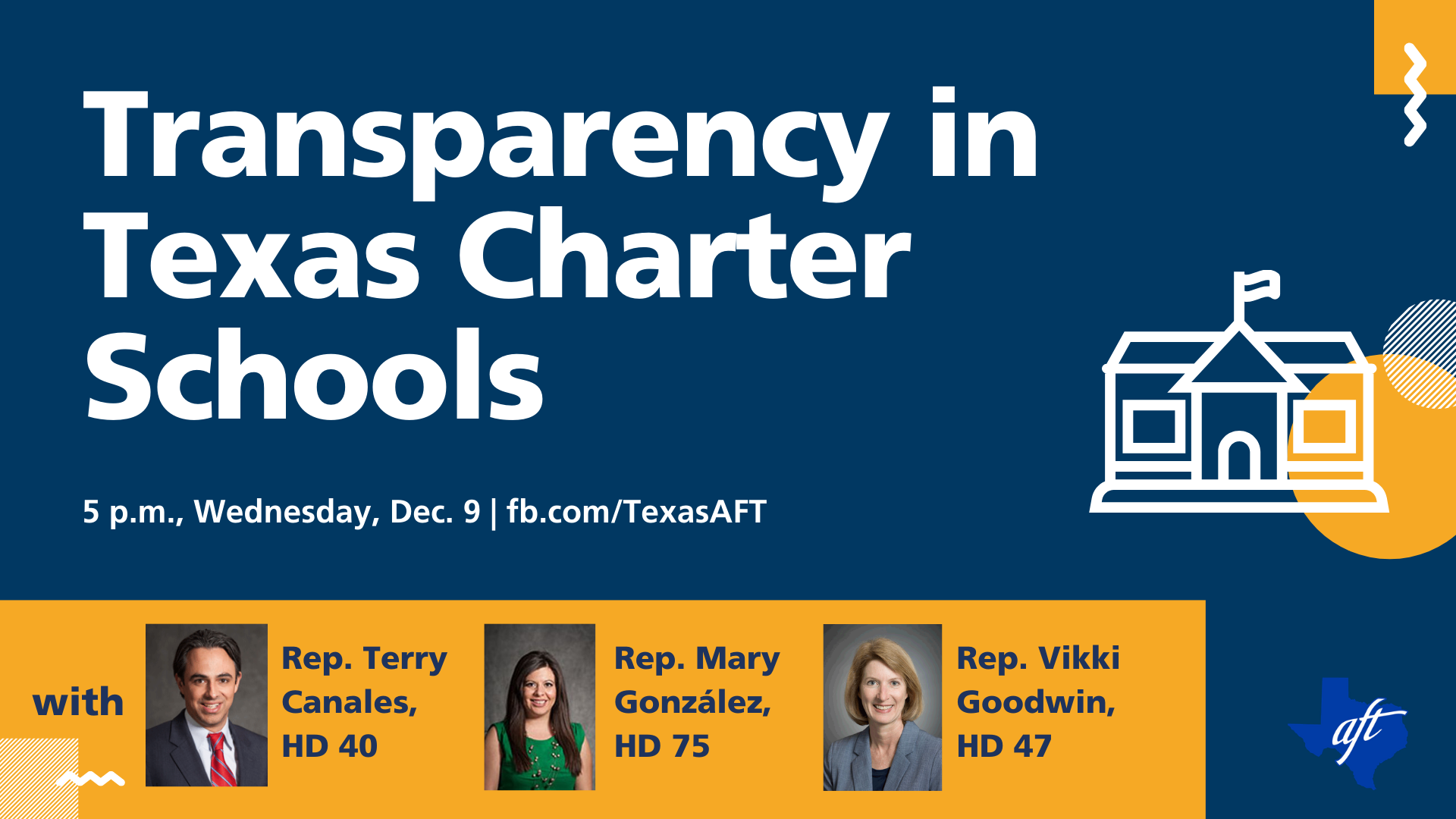 """Text says """"Transparency in Texas Charter Schools"""" and has event details for the town hall event that took place this week."""
