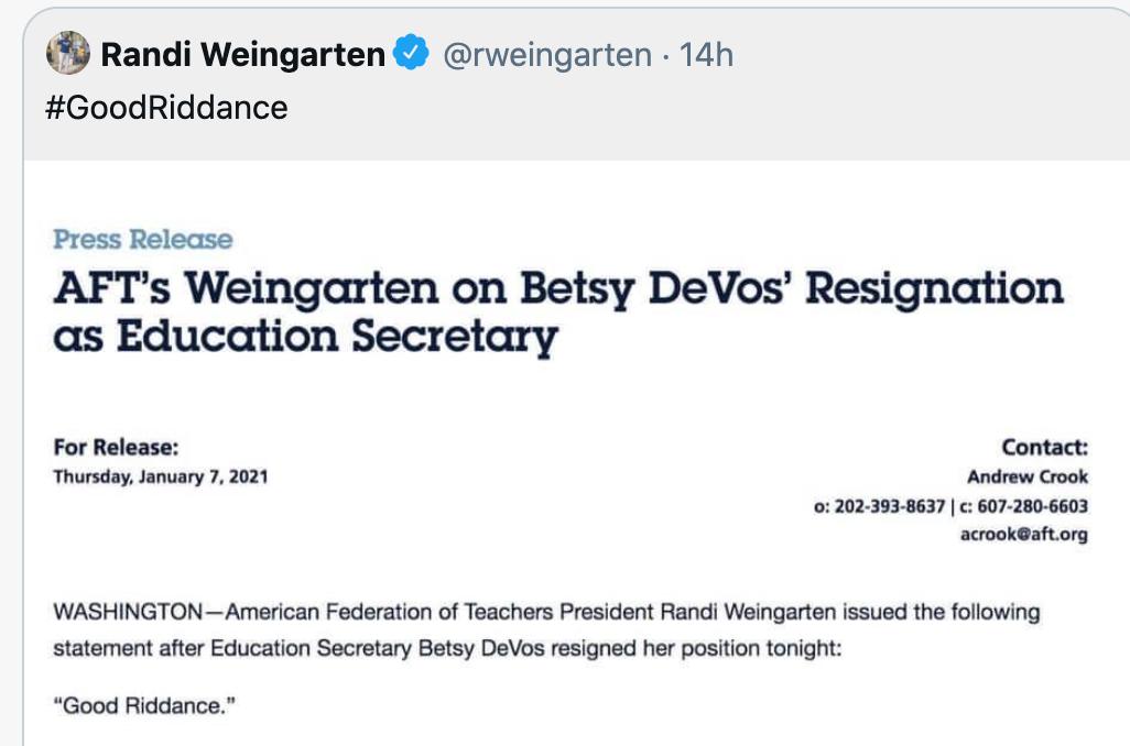 Image of Randi Weingarten tweet