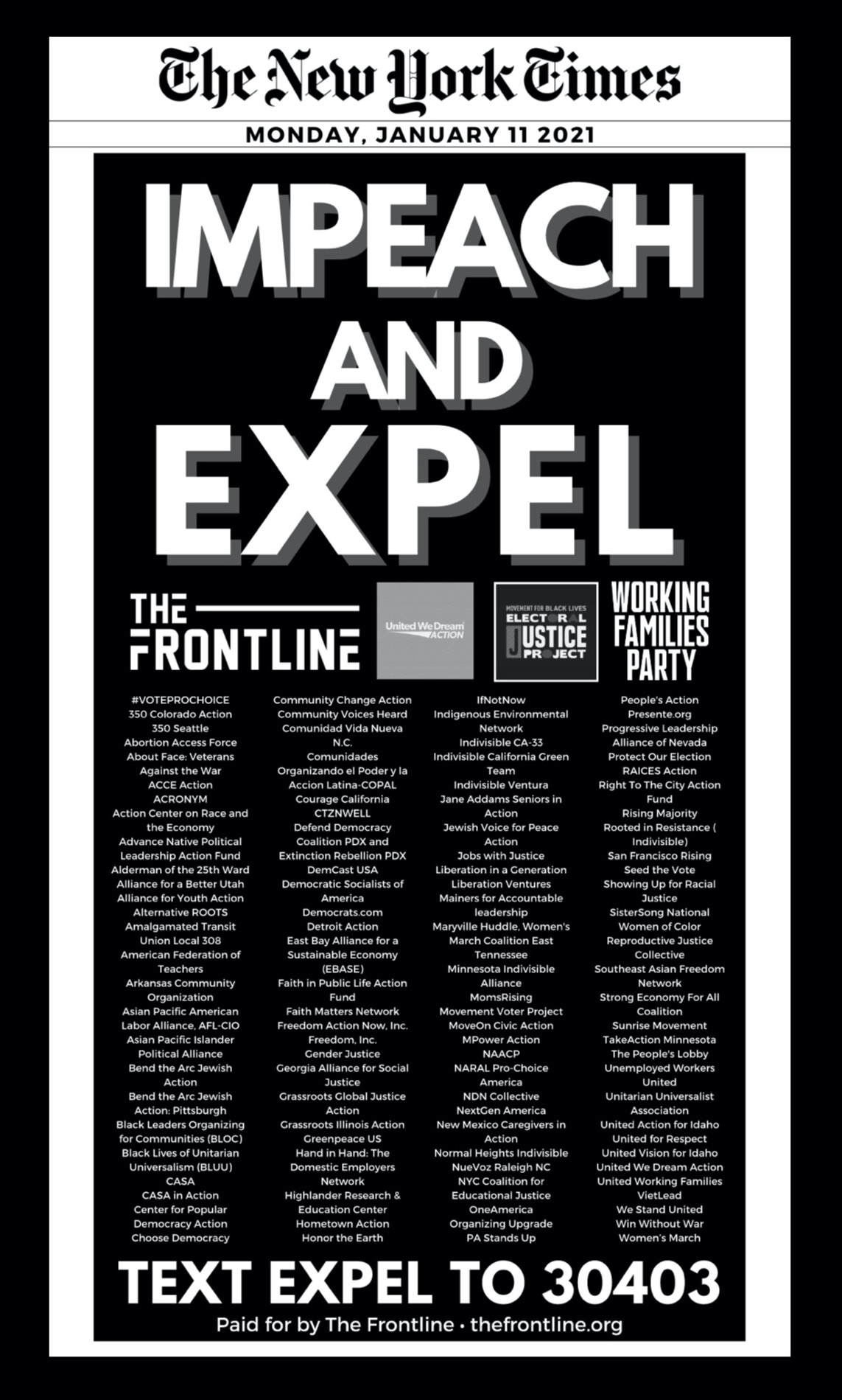 New York Times, Monday Jan 11, 2021 Impeach and Expel. Text EXPEL To 3043