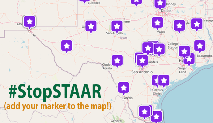 Map of Texas marked with dozens of purple stars