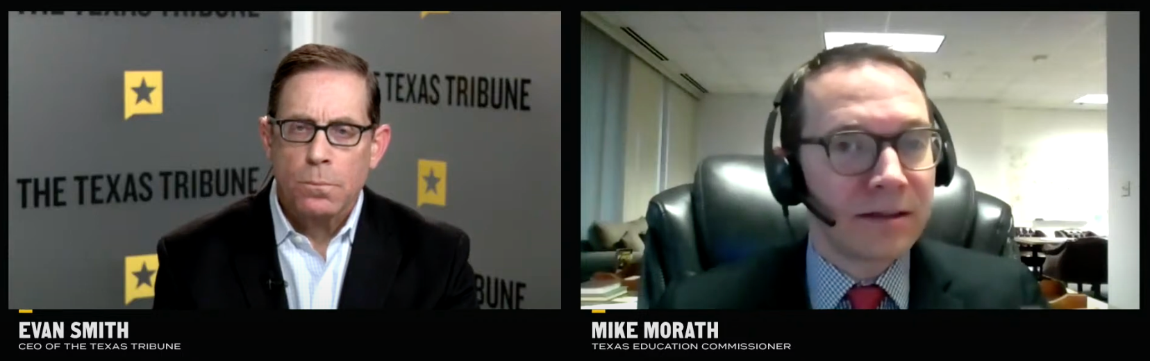 Texas Tribune's Evan Smith (left) and Education Commissioner Mike Morath