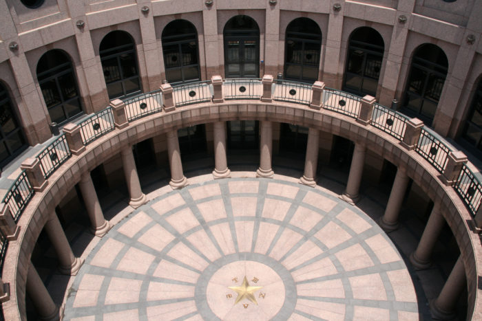 Looking down from top floor of spiraling Texas Capitol extension
