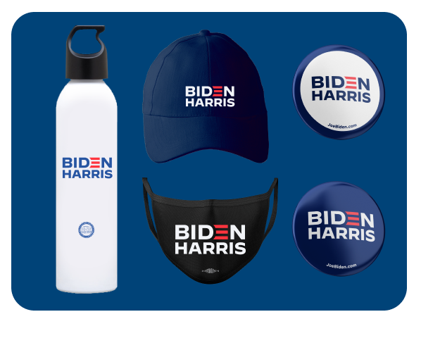 Biden-Harris water bottle, hat, mask, and buttons