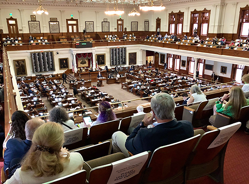 View of House floor in Capitol from gallery above