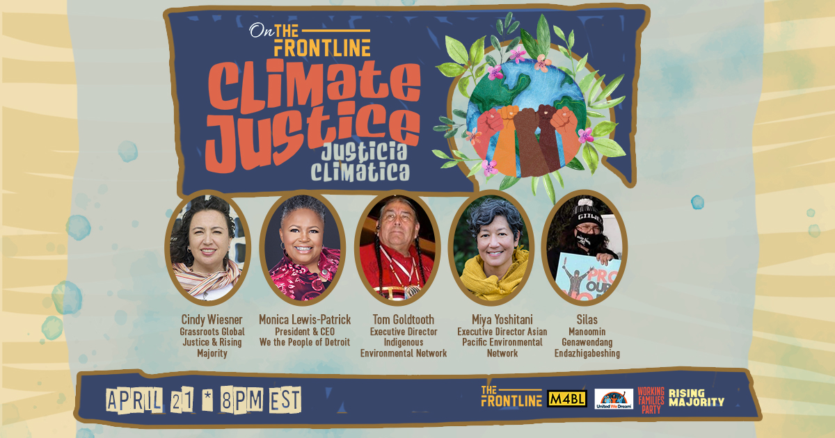 Climate Justice Promo Poster with all five speakers and their bios