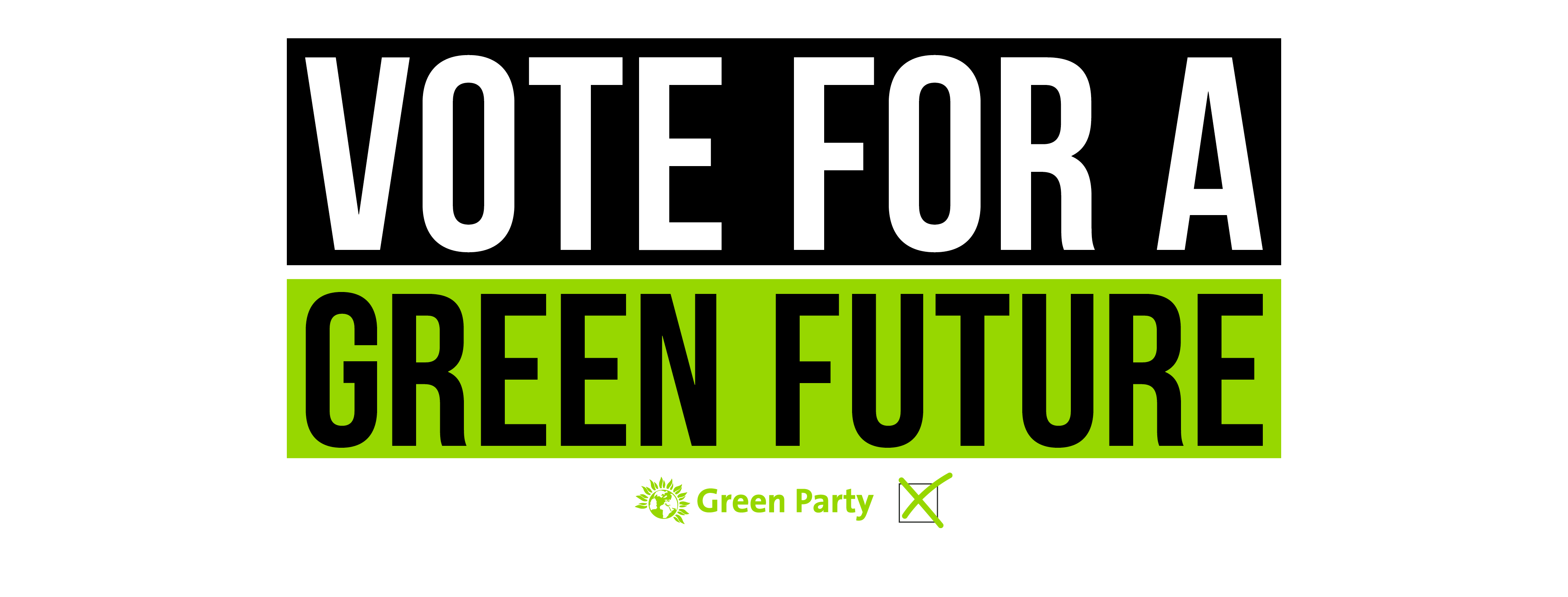 Vote for a Green Future in large black and green letters.