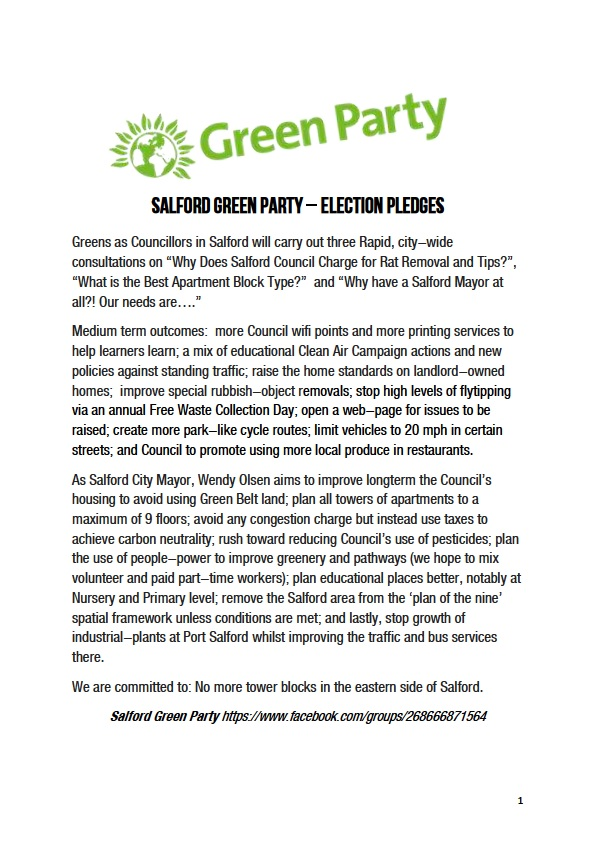 Green Party Pledges - Salford - a list of short medium and long term plans.