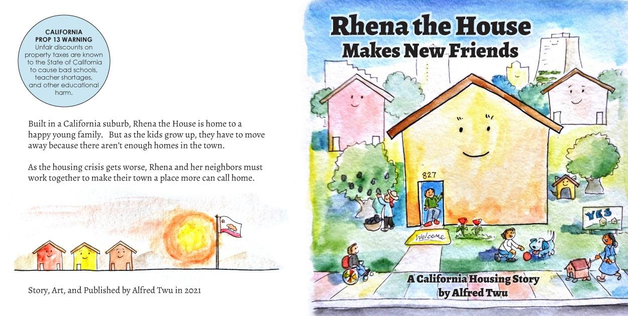 A screenshot of Alfred Twu's new children's book: Rhena the House Makes New Friends