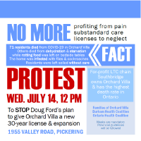 Advertisement for protest on Wednesday July 14 @ 2pm