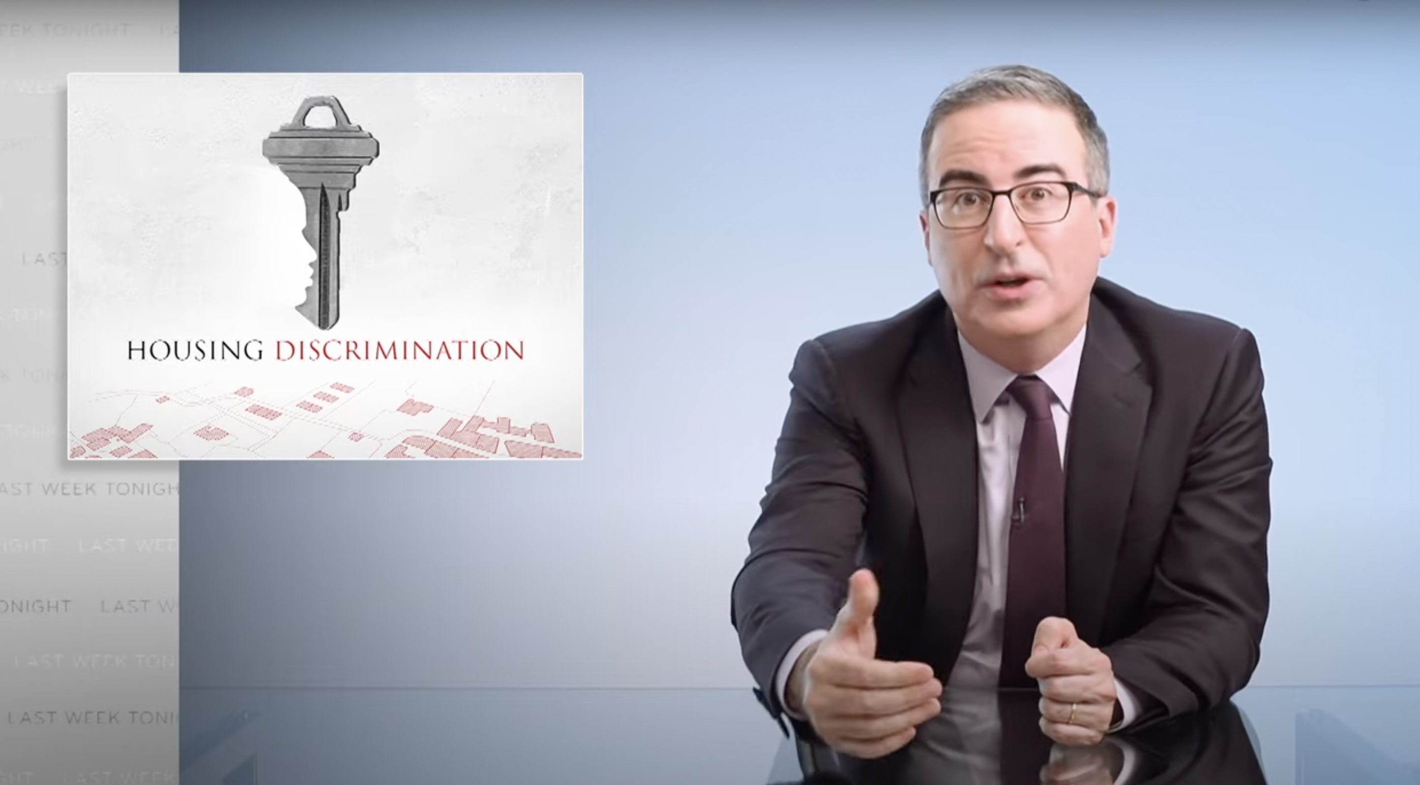 Youtube video of Jon Oliver from Last Week Tonight Talking about Housing Discrimination