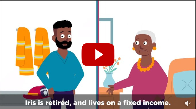 Video still image. Iris is retired and lives on a fixed rent