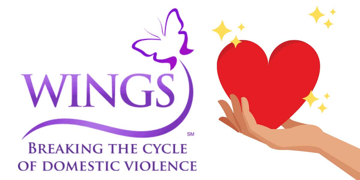 WINGS Program logo graphic with a hand offering a heart with sparkles.